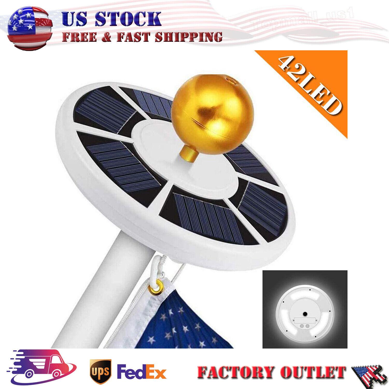 Solar Powered Flag Pole Light 42 LED USA Night Super Bright Flagpole Waterproof
