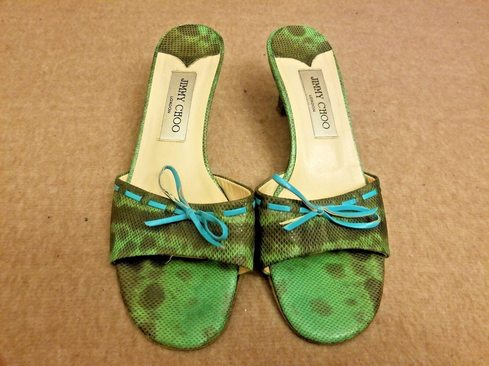 Jimmy Choo London Women Green Snake Print Bow Texture Heels Slides shoes Size 38