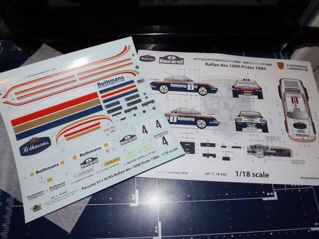 [FFSMC Productions] Decals 1/18 Porsche SCRS Rallye des 1000 Pistes 1984