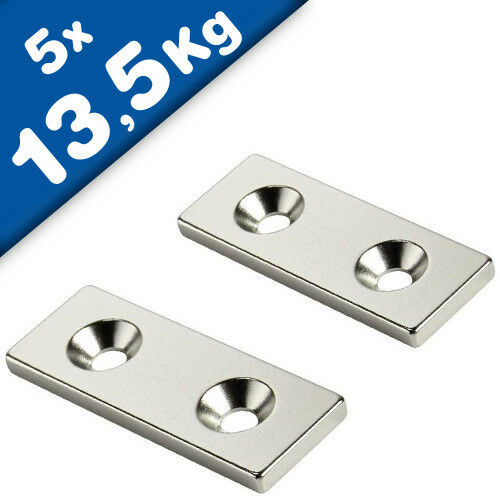 Nord 5 x Quadermagnet mit Senkbohrung 70 x 10 x 3mm Neodym N35 Nickel
