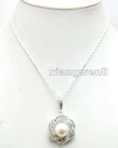 "11-13mm Black Flat Round Pearl Silver 925 Drop 16/"" Pendant /& Necklace Women-6124"