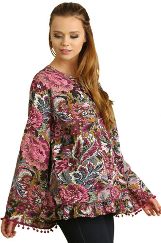 UMGEE Womens Floral Pleated Flowy Boho Long Bell Sleeve Chic Top Blouse S M L
