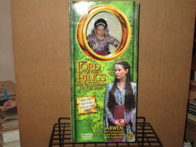 2001 LORD RINGS FELLOWSHIP RING 10    ARWEN ELF FABRIC OUTFIT ACTION FIGURE & BOX d09ef5