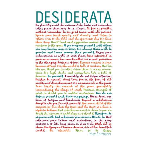Desiderata Rainbow Words Ehrmann Typography Large Wall Art Print