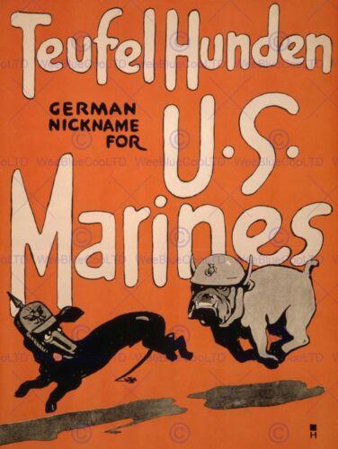 PROPAGANDA WAR WWI US MARINES RECRUIT ENLIST DOG DEVIL MILITARY POSTER BB7115B