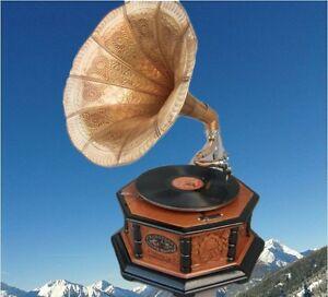 Mechanische Musik Grammophon Holz Rund In Vintage Dekoration Mahagoni Party Gag Geschenk Grammophone