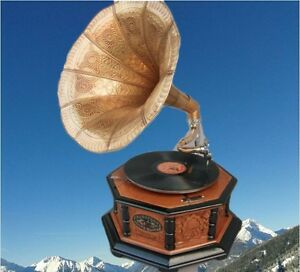 Musikinstrumente Rational Grammophon Holz Hellbraun Achteck Vintage Dekoration Mahagoni Party Gag Geschenk