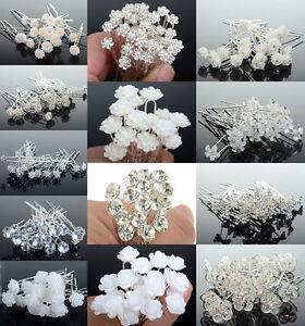 10-20-40-Lot-Crystal-Diamante-Pearl-Flower-Bridal-Wedding-Prom-Hair-Pins-Clips