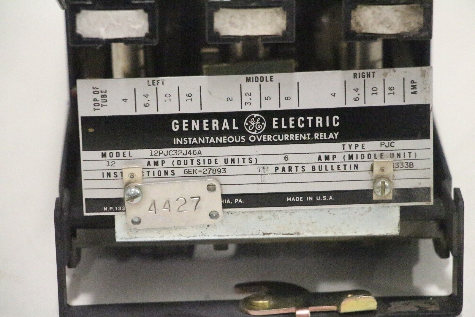 Ge General Electric 12pjc32j46a Instantaneous Overcurrent Relay Ebay Electrical Norton Secured Powered By Verisign