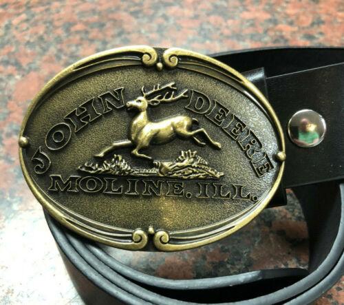 JOHN DEERE Buckle FREE BELT Moline Illinois gold oval western farm machinery