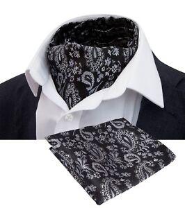 Silk Paisley Jacquard Floral Wedding Prom Men Cravat Ascot Tie Set with Hankie