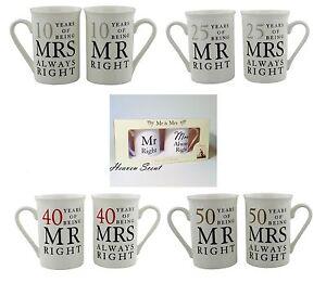 Mr Right Mrs Always Right Mug Wedding Anniversary Gift Ideas 10th ...