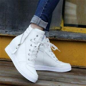 Women-039-s-Hidden-Heel-Wedge-Lace-Up-Zip-Oxfords-Casual-Sneakers-High-Top-Shoes