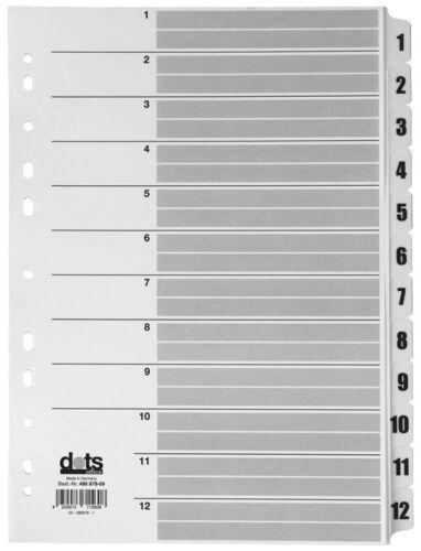 dots Zahlen-Register weiß 1-12 Aktenordner Ordner Mylar Karton PP-Taben