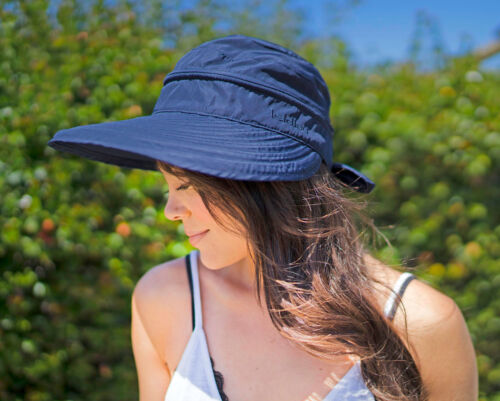 Summer Beach Women/'s Wide Large Brim Sun Canvas Hat Visor Removable Cap