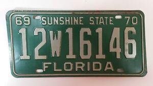 Vintage 1969 70 Florida Sunshine State Auto License Plate