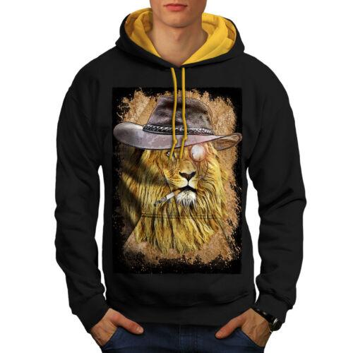 nouveau capuche hommes animal à Fumeur bête sweat capuche contraste lion noir or x6wIPqTa