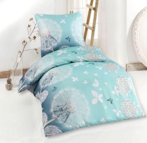 Bettwäsche Set Bettbezug 135x200 Kissen 80x80 Mikrofaser NEU Romantik Hell Blau