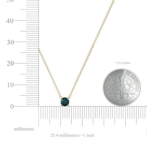 """London Blue Topaz 1//4 Ct Solitaire Collier Or 14K Avec 16/"""" Chaîne JP:199872"""