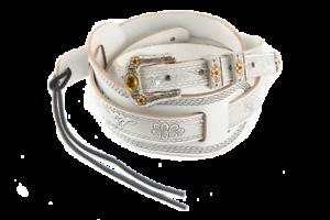 Genuine-Gretsch-Vintage-Tooled-Leather-Adjustable-Guitar-Strap-White