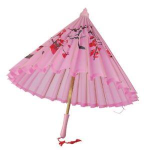 Rose-Soie-Ombrelle-avec-Poignee-en-Bois-Japonais-Geisha-Accessoire-Deguisement