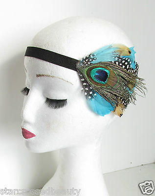 Native American Feather Headpiece Headband Red Indian Vintage Boho Peacock P49