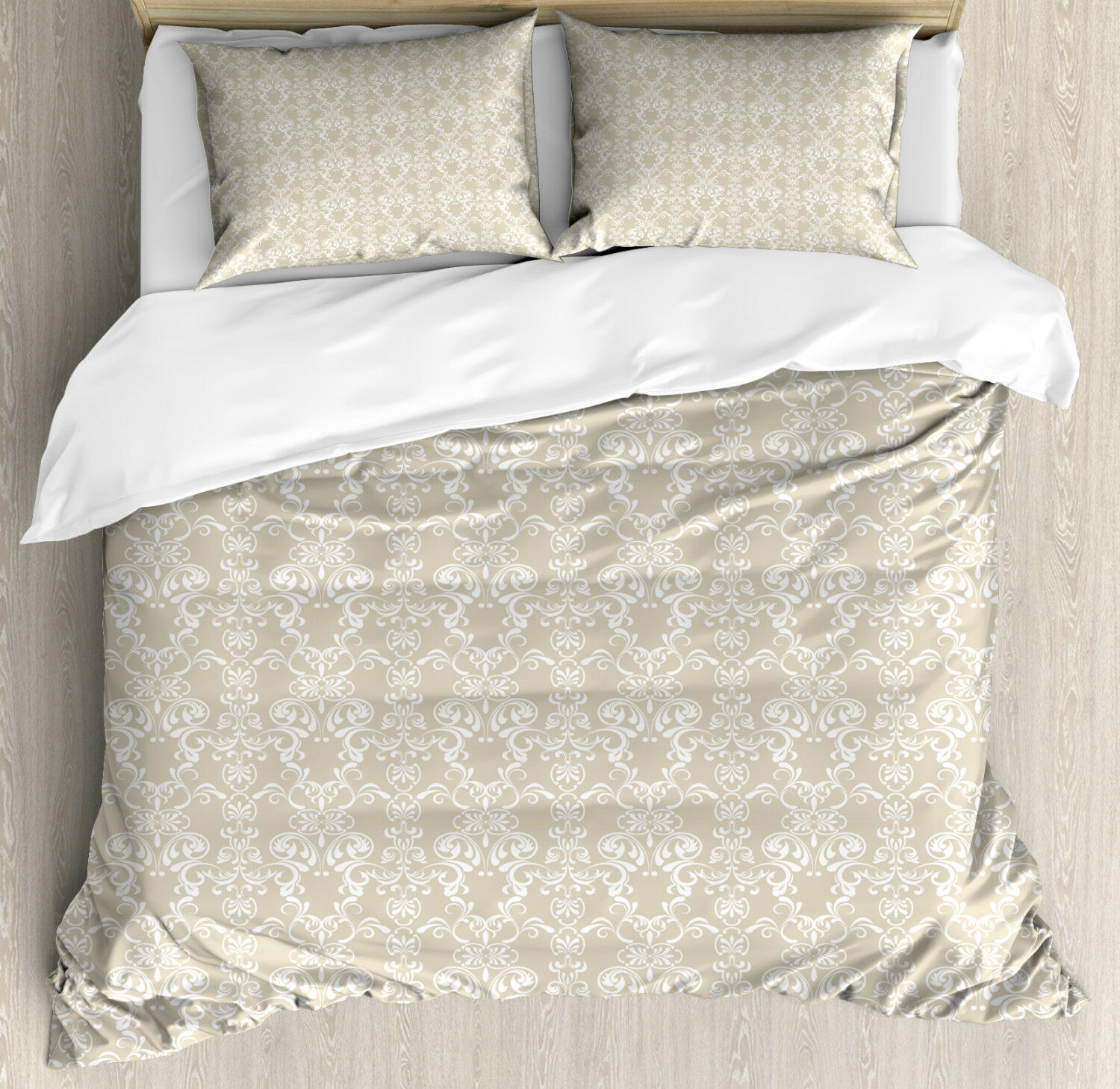 Beige Duvet Cover Set with Pillow Shams Traditional Lace Design Print
