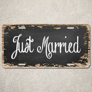 LP0284-Just-Married-Wood-Vintage-Auto-Car-License-Plate-Home-Wedding-Decor-Sign
