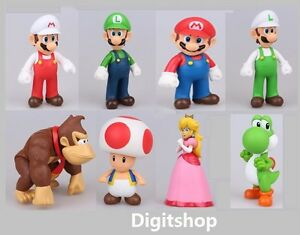 "5"" Super Mario Brothers Luigi Yoshi Princess Peach Donkey Kong Toad figure party"
