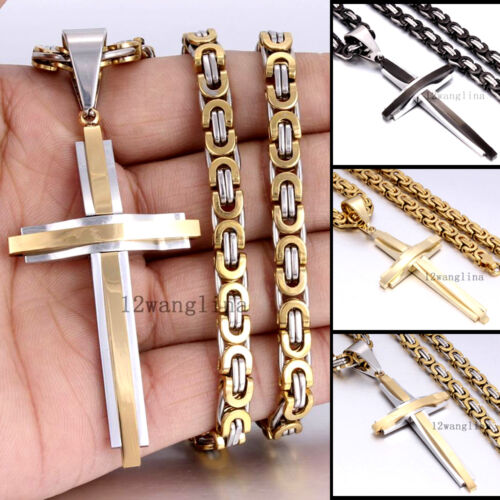 MEN Chain Silver Black Gold Byzantine Stainless Steel Cross Pendant Necklace HOT