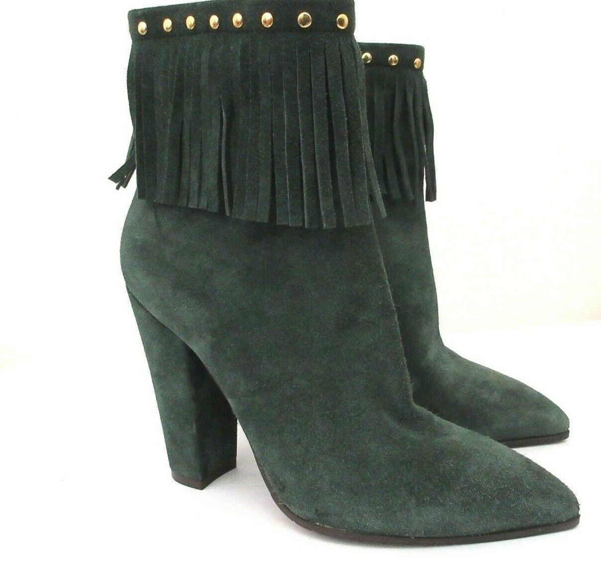 L' Otra Eligió ante verde Puntiagudo Tachuelas Flecos botas Talla  40 (US 10)