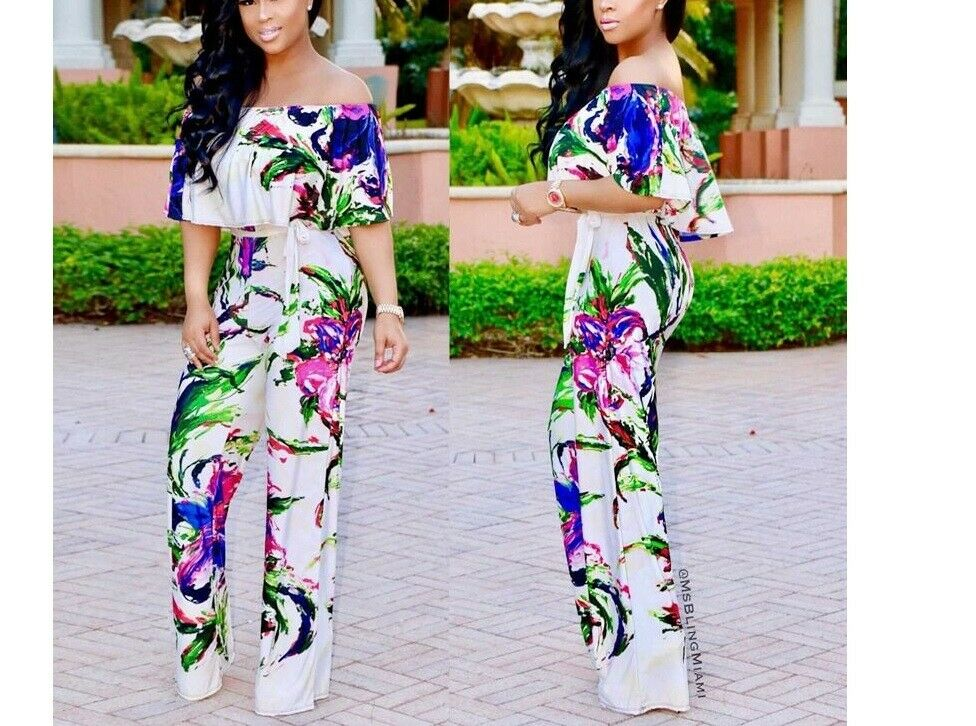 Printed Jumpsuits Lace-Up Rompers Off Shoulder For Women Summer Beach Polyester