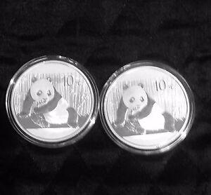 Lot-of-2-China-Panda-2015-10-Yuan-999-Silver-one-Oz-each-in-the-original-capsule
