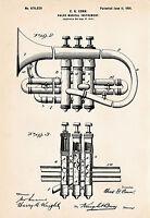 1901 Conn Cornet Art Drawing Patent Print Gift Idea For Cornet Player Brass Wind