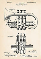 1901 Conn Cornet Art Drawing Patent Print Gift Idea For Cornet Player Brass Wind