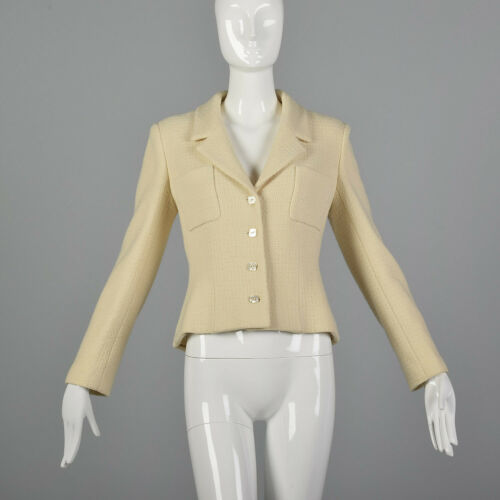 Medium Chanel 1990s Cream Wool Jacket Vintage Chan