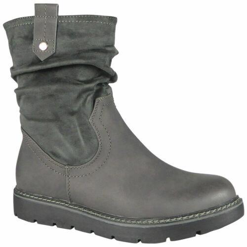 Bottes d/'hiver femme mi-mollet Froncé Cheville Plat Décontracté Confortable Fermeture Éclair Travail Chaussures Siz