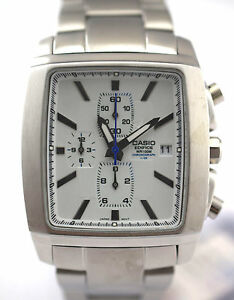 CASIO-EDIFICE-Men-EF-509D-7A-Square-White-Dial-3subdial-Stainless-Steel-Band