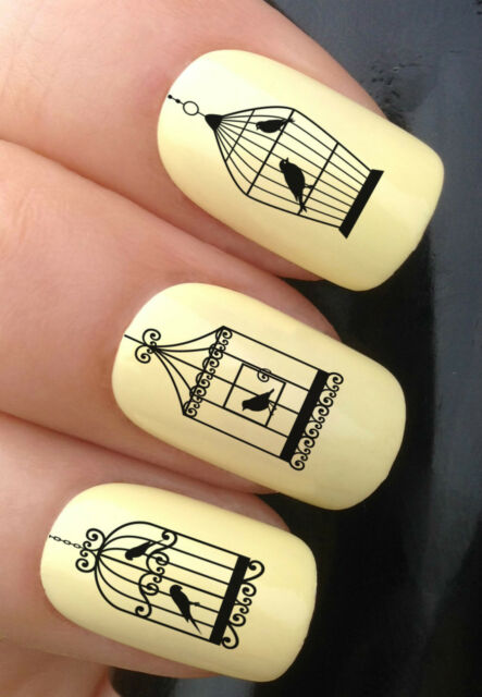 NAIL ART SET #351 x24 VINTAGE BIRDCAGES MIX BIRDS WATER TRANSFER DECALS STICKERS