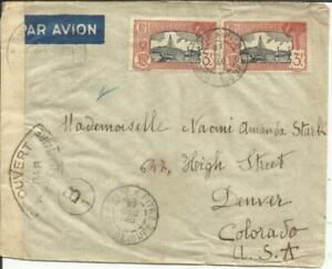 100% De Qualité Guadeloupe Sc#134(pair) Pointe A Pitre 27/dec/40 Wwii Censor Airmail To Usa