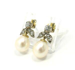 Goldschmiedearbeit-Ohrstecker-Perlen-Ohrringe-Silber-amp-Gold-18kt-mit-Diamanten