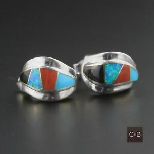 Vintage-Navajo-Opal-Multi-Stone-Inlay-Earrings-Sterling-Silver-Native-American