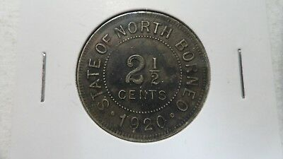 Alert British North Borneo Malaysia 2 1/2 Cents, 1920, Vf+ Key Date