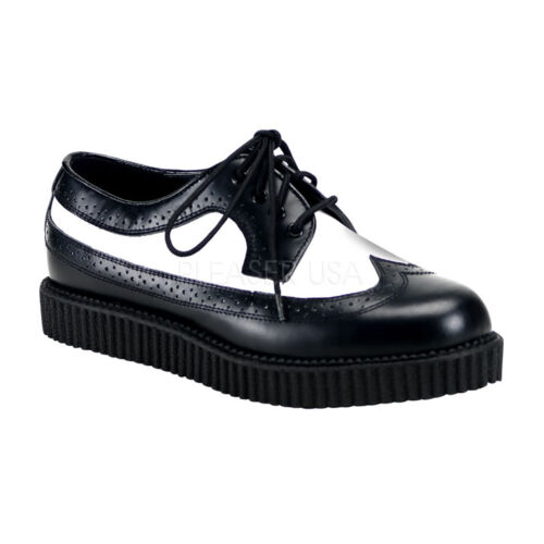"""DEMONIA CRE608//BW//LE Men/'s Gothic 1/"""" Platform Creepers Punk Goth Leather Shoes"""