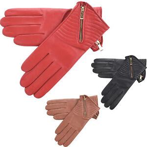 Femmes-Super-Doux-Cuir-Veritable-Gants-Avec-Fermeture-Eclair-Doublure-Polaire-Noir-Rouge
