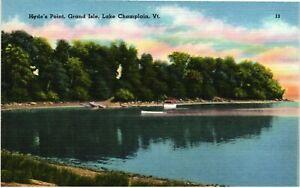 Vintage Postcard - Linen Hyde's Point Lake Champlain Vermont VT Unposted #4813