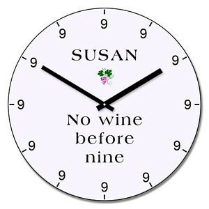 Personalised-No-wine-before-nine-Design-Wall-Clock-Add-Name-Gift-30cm
