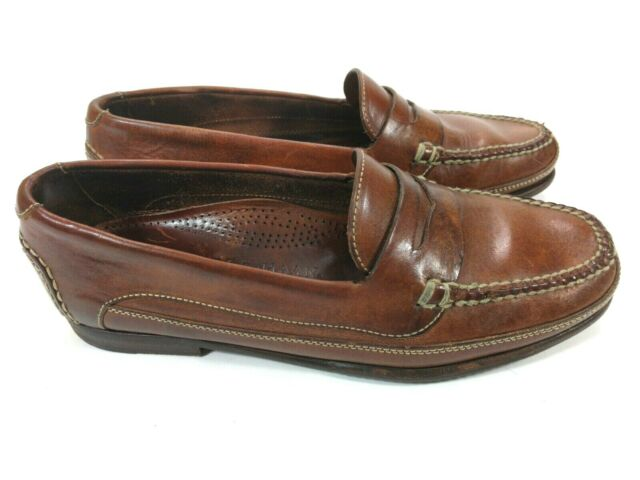 COLE HAAN COUNTRY 3115 MEN BROWN LEATHER SLIP ON PENNY ...