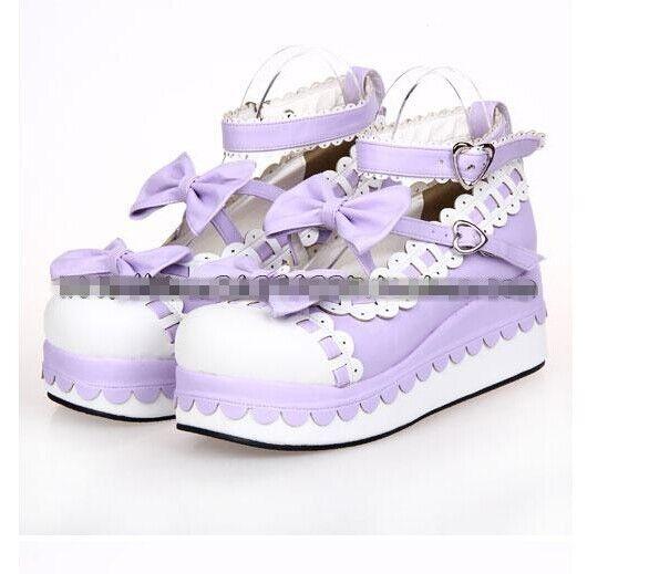 12colors Lolita Sweet womens creeper platform wedge pumps Cosplay Princess shoes