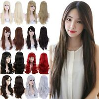 Hot Women Girls Lifelike Full Wavy Hair Wig 100% Real Thick Natural Looking wigs
